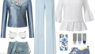 STYLIZACJE na wiosnę z niebieskimi spodniami