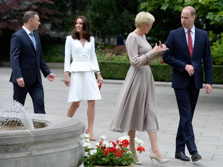 Agata Kornahauser-Duda i książę William oraz Andrzej Duda i księżna Catherine;