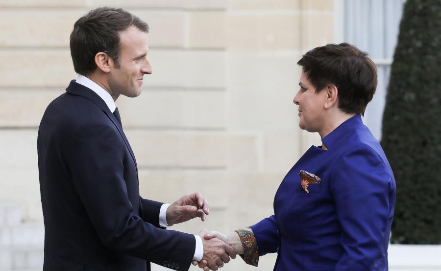 Emmanuel Macron i Beata Szydło