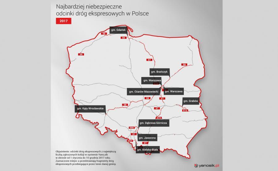 Najbardziej niebezpieczne odcinki dróg ekspresowych w Polsce