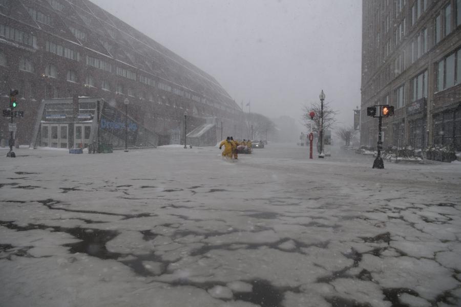Zalane ulice w Bostonie w stanie Massachusetts
