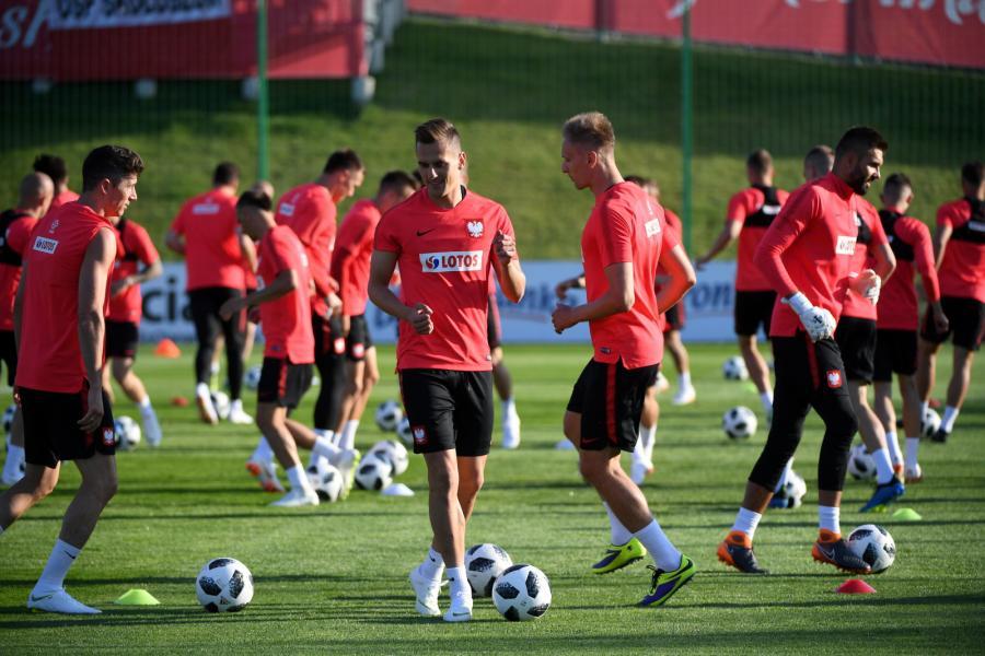 Piłkarze reprezentacji Polski podczas treningu kadry w Arłamowie