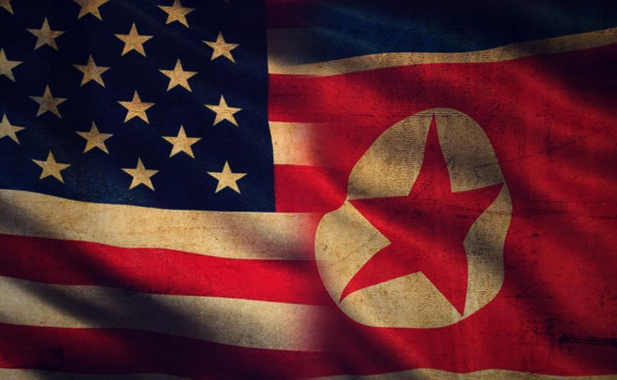 Flagi USA i Korei Północnej