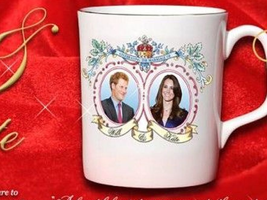 Pamiątkowy kubek z wizerunkiem Kate Middleton i jej narzeczonego, księcia... Harry\'ego. źródło: www.guandonenterpricesltd.com