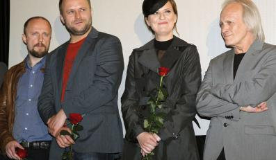 """Twórcy filmu """"Lincz"""": Łukasz Simlat, Leszek Lichota, Iza Kuna, Wiesław Komasa"""