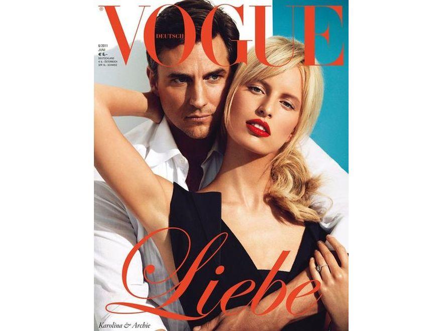 """Karolina Kurkova i Archie Drury na okładce niemieckiego """"Vogue"""""""
