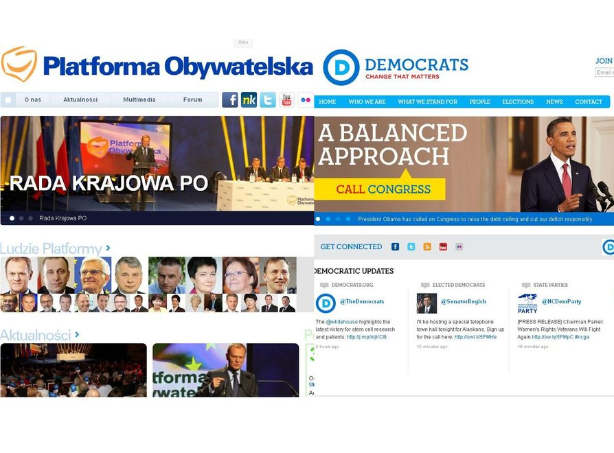 Podobne? Strona PO i strona Partii Demokratycznej