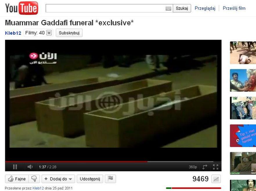 Wyciekło amatorskie nagranie z pogrzebu Muammara Kadafiego