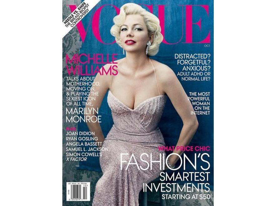"""Michelle Williams jako Marilyn Monroe w obiektywie Annie Leibovitz na okładce amerykańskiej edycji """"Vogue"""". Źródło: Vogue"""
