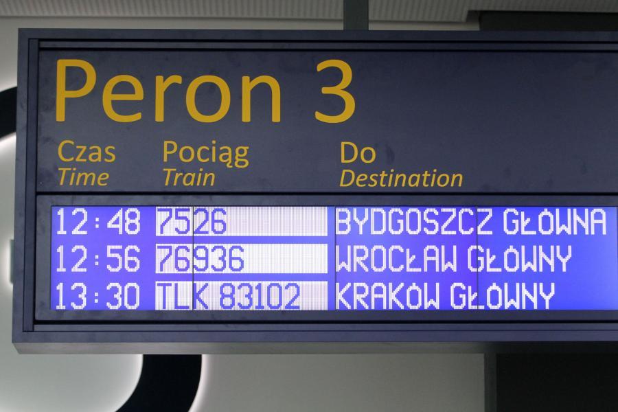 Tablica wyświetlająca odjazdy pociągów