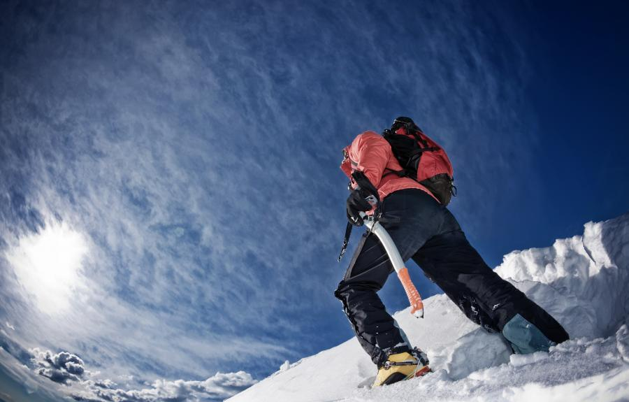 Alpinista na Mont Blanc