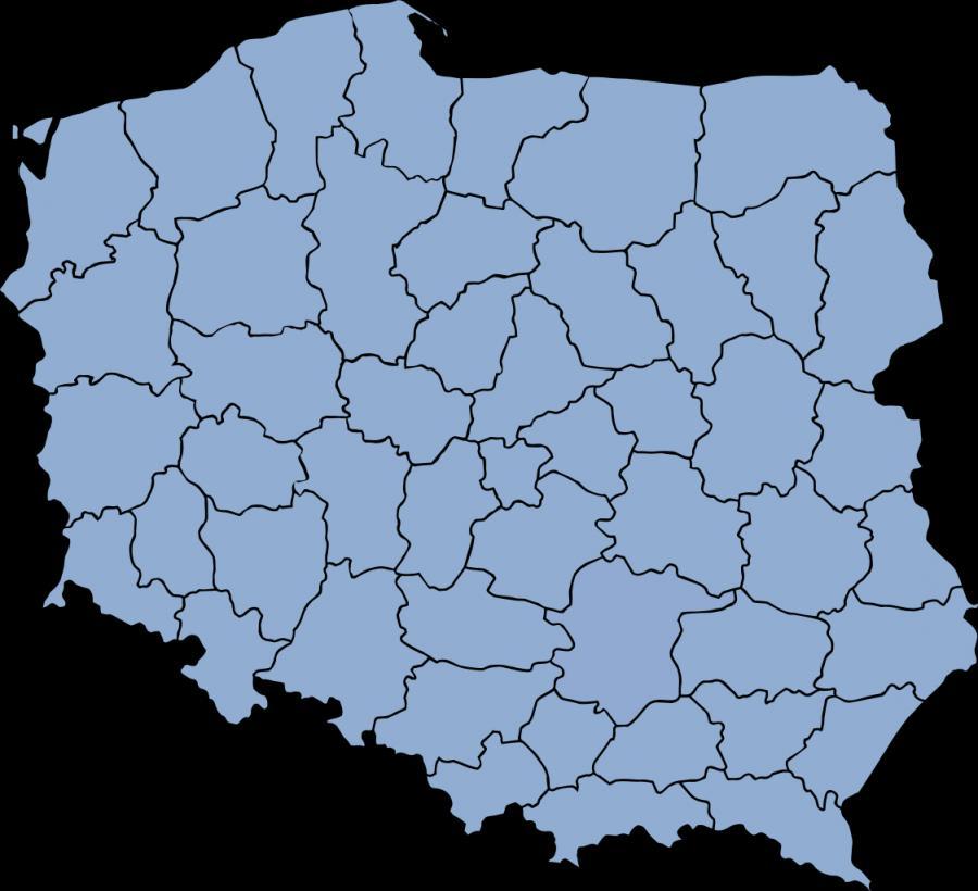 Mapa administracyjna Polski z 49 województwami