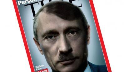 """Władimir Putin jako Adolf Hitler. W internecie krąży przeróbka okładki tygodnika """"Time"""""""