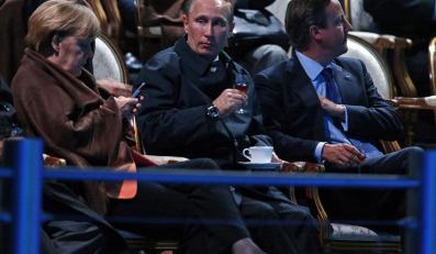 Angela Merkel, Władimir Putin i David Cameron
