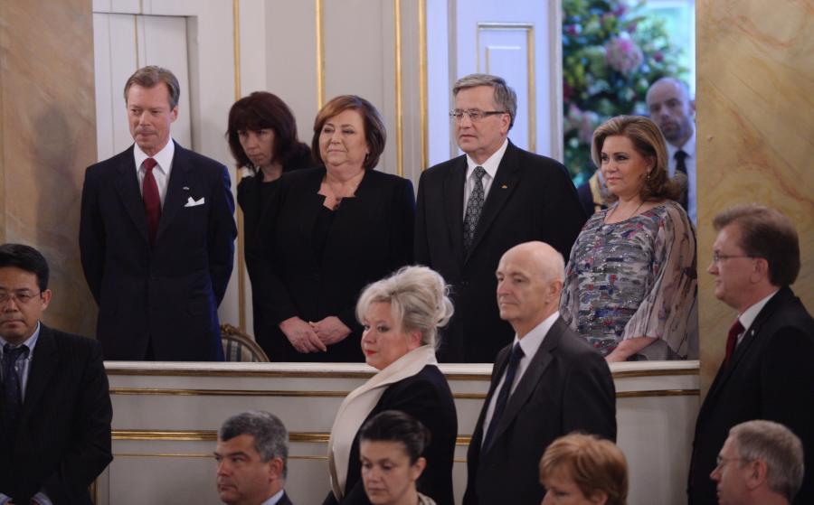 Bronisław i Anna Komorowscy oraz luksemburska para książęca: książę Henryk Wielki i księżna Maria Teresa