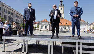 Karol Karski, Jarosław Kaczyński, Adam Hofman w Białymstoku