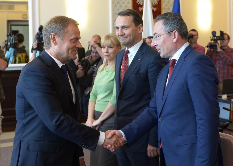 Premier Donald Tusk i Bartłomiej Sienkiewicz