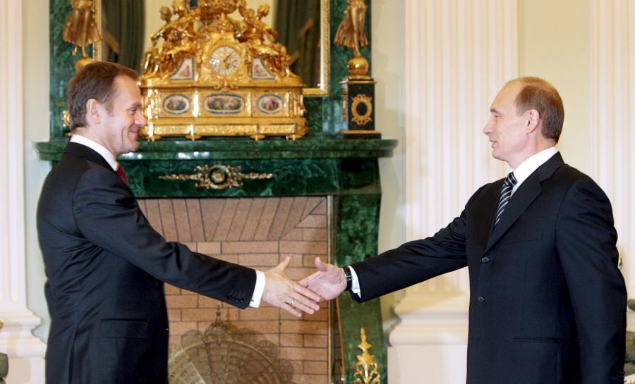 Donald Tusk i Władimir Putin w Moskwie w 2008 roku
