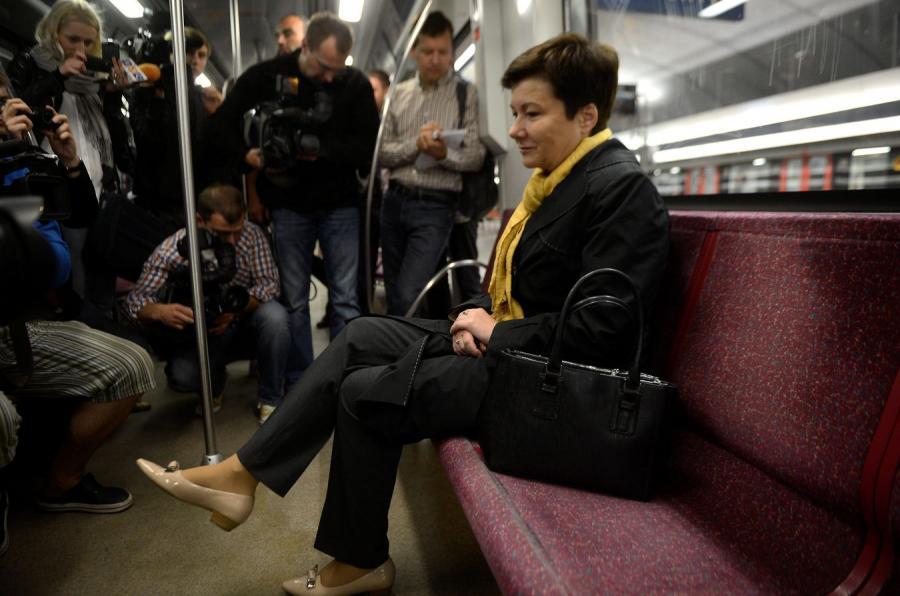 Hanna Gronkiewicz-Waltz w wagoniku metra