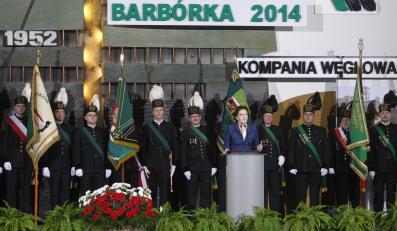 Premier Ewa Kopacz podczas uroczystości barbórkowych w Kopalni Węgla Kamiennego Ziemowit w Lędzinach