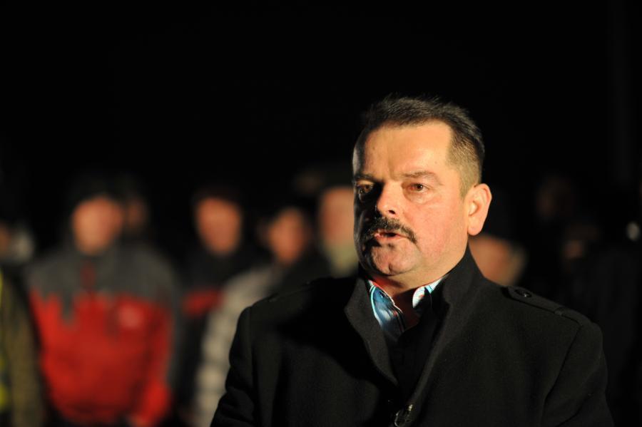 Przewodniczący rolniczego OPZZ Sławomir Izdebski na miejscu blokady