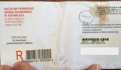 List z urzędu skarbowego do Kamila Durczoka (twitter.com/MajewskiMichal)
