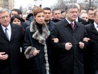 Marsz godności w Kijowie rok po Majdanie. Byli Tusk, Komorowski...
