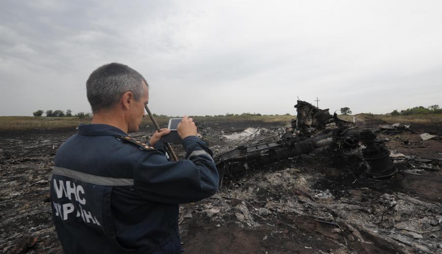 Miejsce katastrofy malezyjskiego samolotu MH-17 na Ukrainie