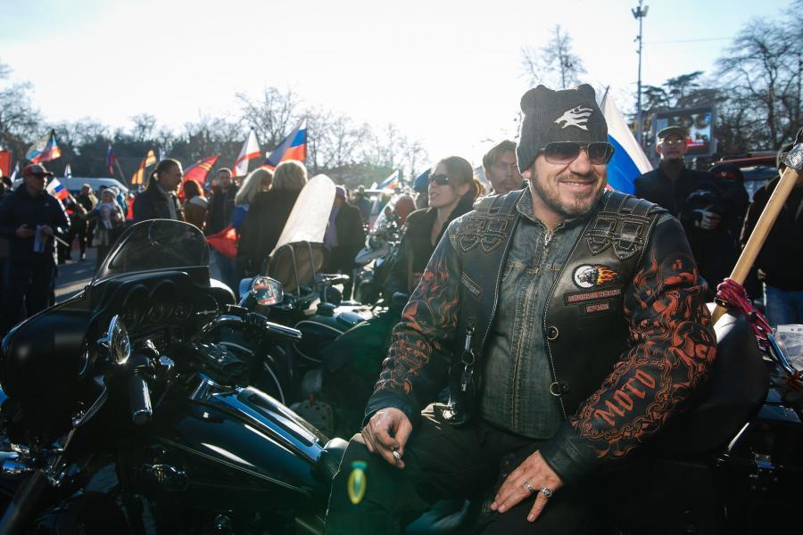 Motocykliści z grupy Nocne Wilki