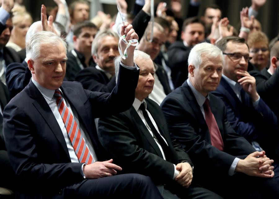 Od lewej: Jarosław Gowin, Jarosław Kaczyński, Marek Jurek i Zbigniew Ziobro, podczas I Kongresu Polski Razem Zjednoczonej Prawicy