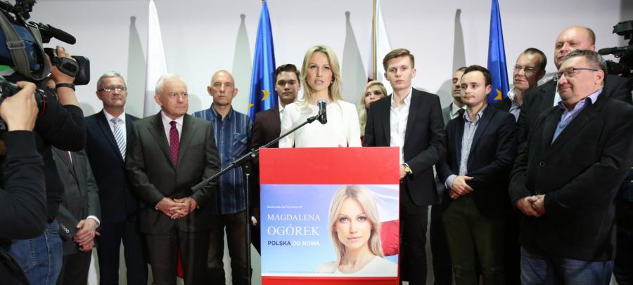Magdalena Ogórek w czasie wieczoru wyborczego