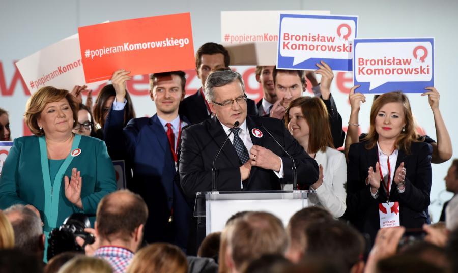 Bronisław Komorowski w czasie wieczoru wyborczego
