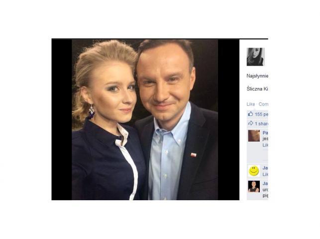 Kinga i Andrzej Dudowie na spotkaniu kandydata PiS-u na prezydenta z użytkownikami Twittera  - 8 maja 2015 r.