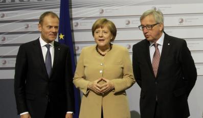 Donald Tusk, Angela Merkel i Jean-Claude Juncker