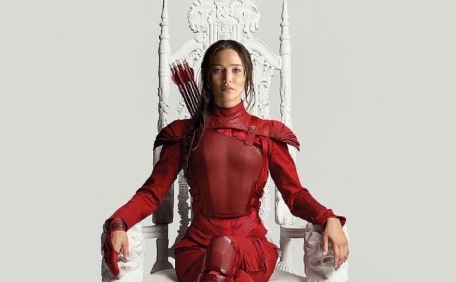 Jennifer Lawrance jako Katniss na białym tronie i nowym plakacie