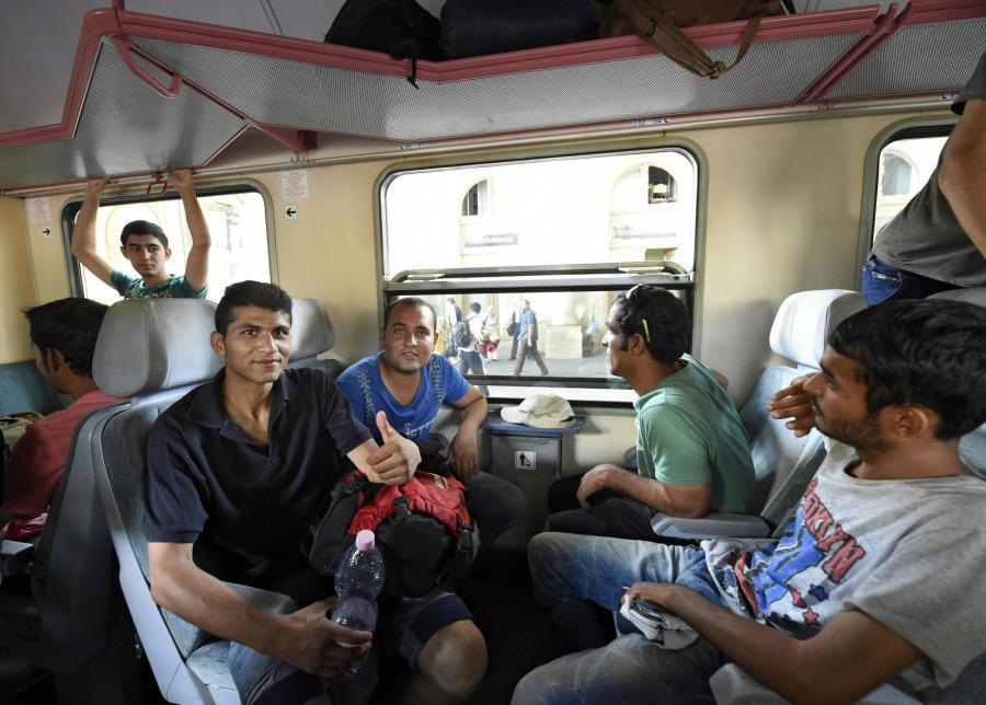 Pociąg z imigrantami na dworcu Keleti