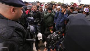 Imigranci w miejscowości Tovarnik w Chorwacji