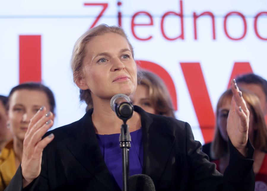 Barbara Nowacka podczas wieczoru wyborczego Zjednoczonej Lewicy