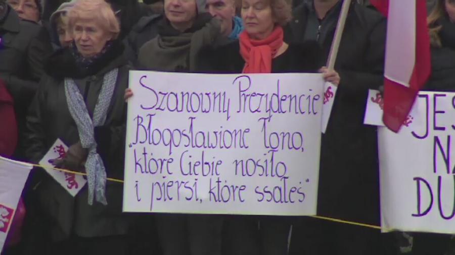 Transparent zwolenników prezydenta Andrzeja Dudy