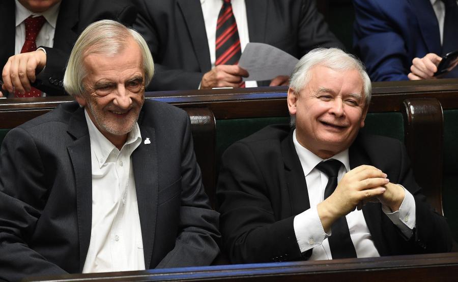 Prezes PiS Jarosław Kaczyński i wicemarszałek Sejmu Ryszard Terlecki podczas posiedzenia Sejmu
