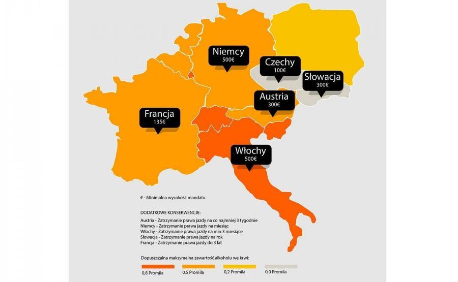 Limity alkoholu i kary w ulubionych krajach polskich narciarzy