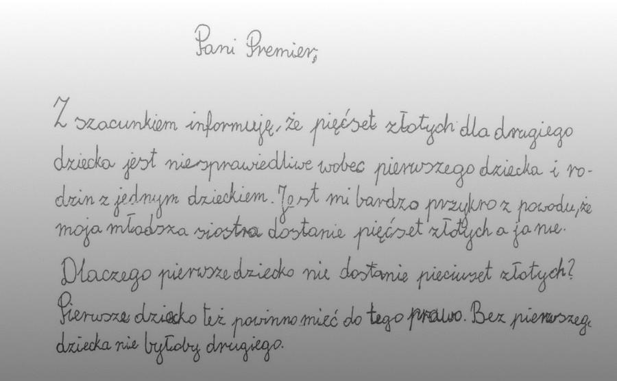 9-letnia Julia z Mikołowa pisze list do premier Beaty Szydło. Chodzi o 500 złotych na dziecko