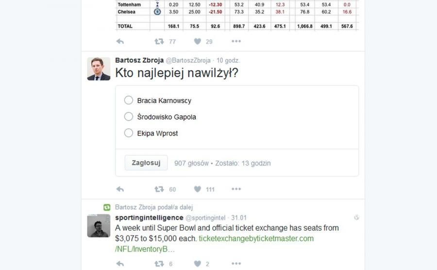 Bartosz Zbroja, rzecznik ministerstwa sportu na Twitterze