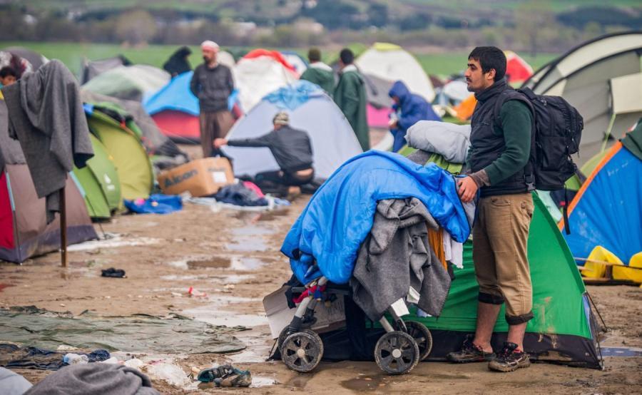 Obóz migrantów na granicy grecko-macedońskiej