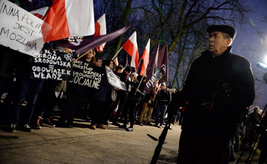 Protest Razem przed KPRM
