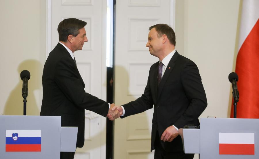 Prezydent Słowenii Borut Pahor i prezydent Polski, Andrzej Duda
