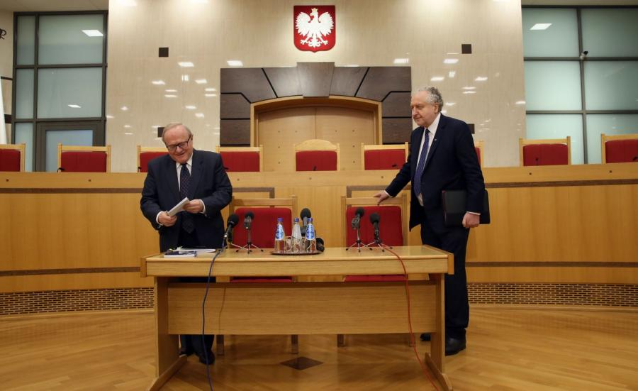 Prezes Trybunału Konstytucyjnego Andrzej Rzepliński i wiceprezes TK Stanisław Biernat
