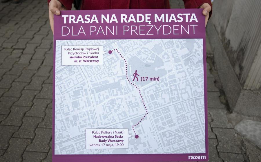 Partia Razem przygotowała mapę dla prezydent Warszawy