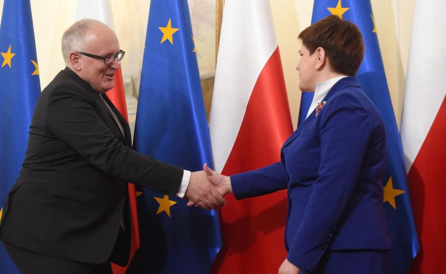 Wiceszef Komisji Europejskiej Frans Timmermans i premier Beata Szydło
