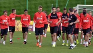 Piłkarze reprezentacji Polski podczas trening kadry w ośrodku wypoczynkowym w Arłamowie
